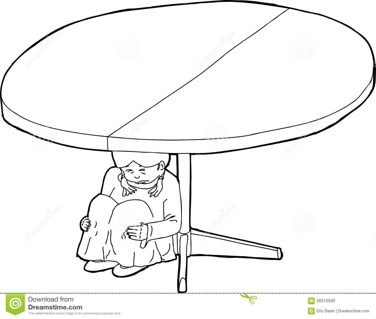 Outlined Weeping Child Under Table Stock Illustration