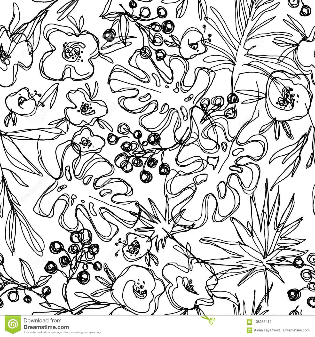 Outlines Jungle Flowers Seamless Pattern Hand Drawn
