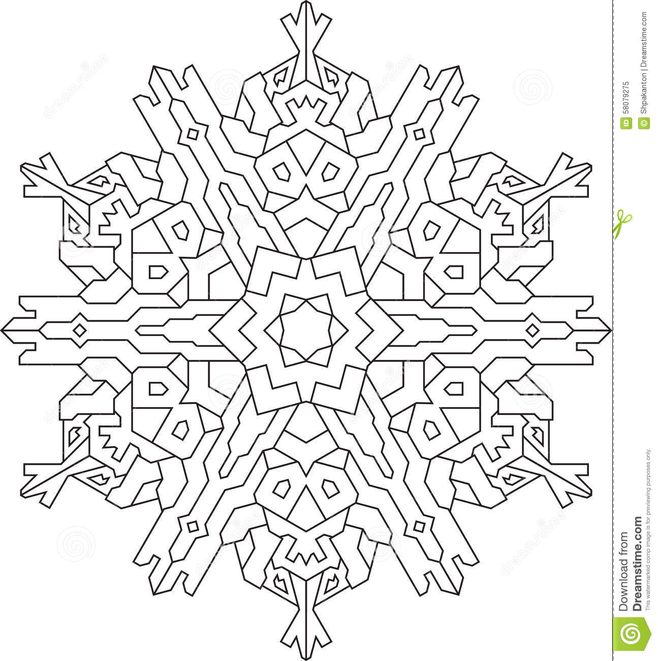 Outlines Of Snowflake In Mono Line Style For Coloring