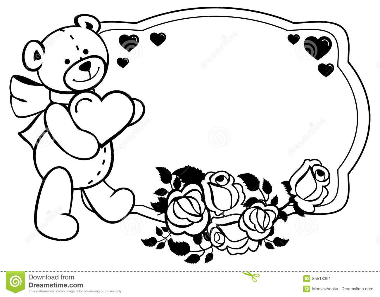 Oval Label With Outline Roses And Cute Teddy Bear Holding