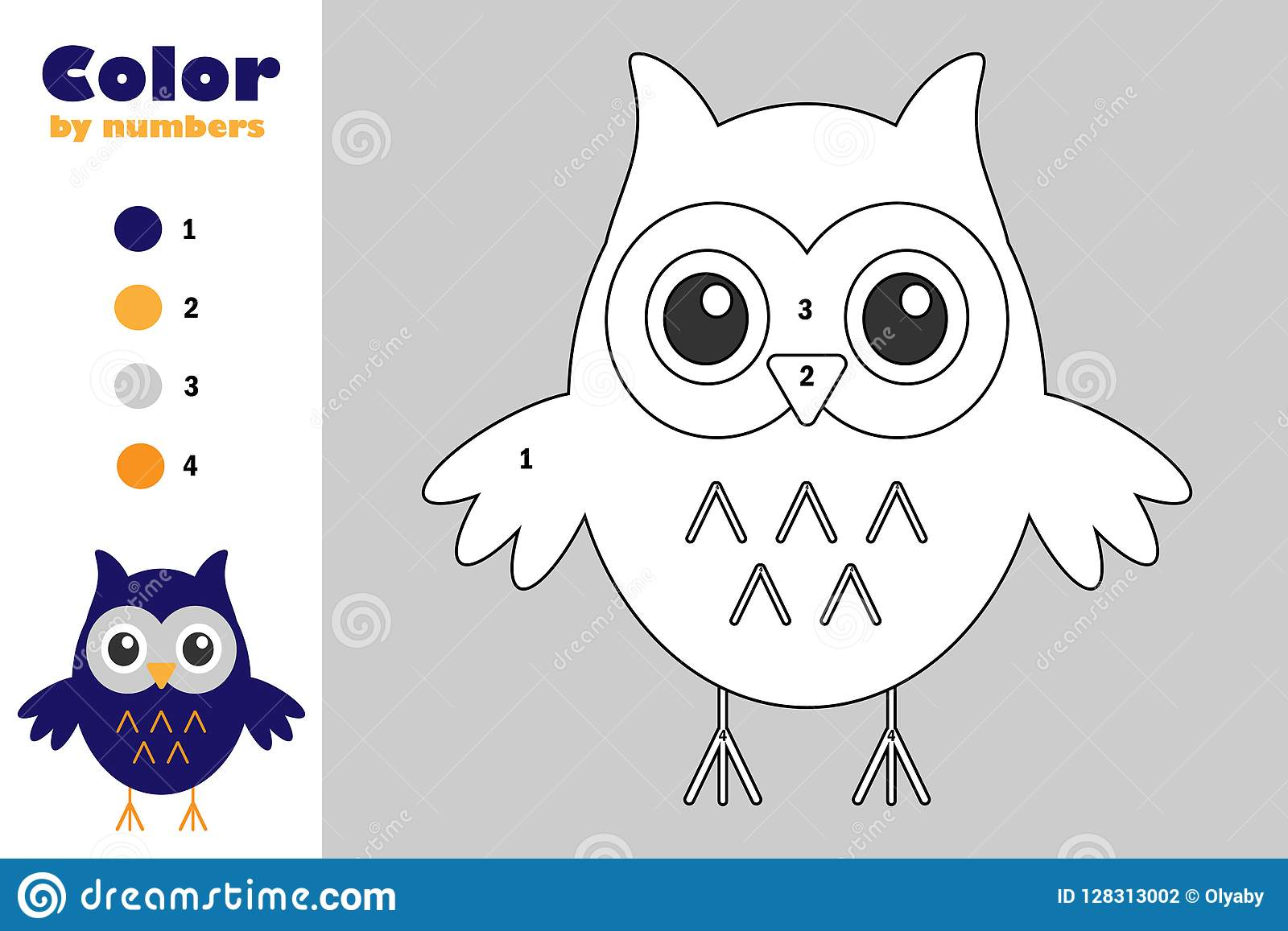 Owl In Cartoon Style Color By Number Halloween Education
