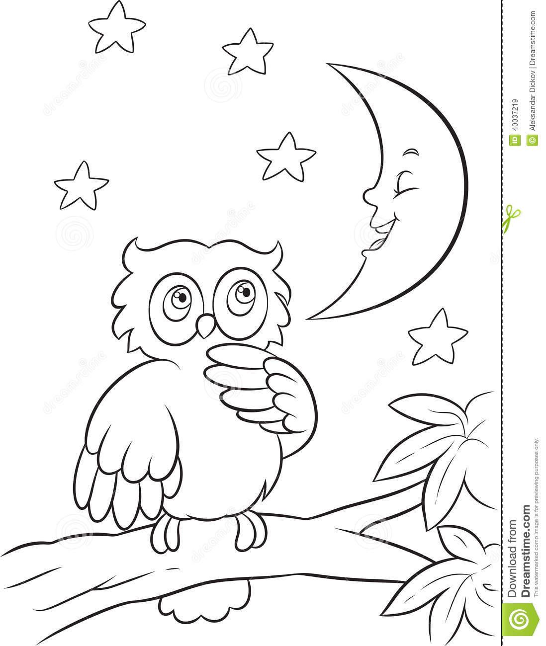 Owl Coloring Page Stock Vector Illustration Of Book