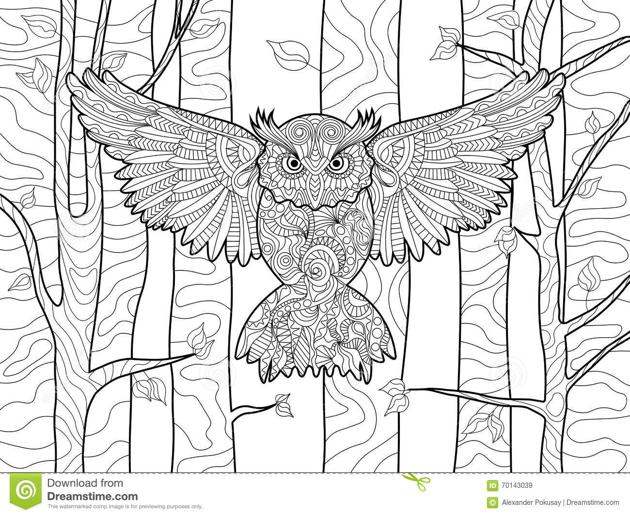 Owl In The Forest Coloring Book For Adults Vector Stock