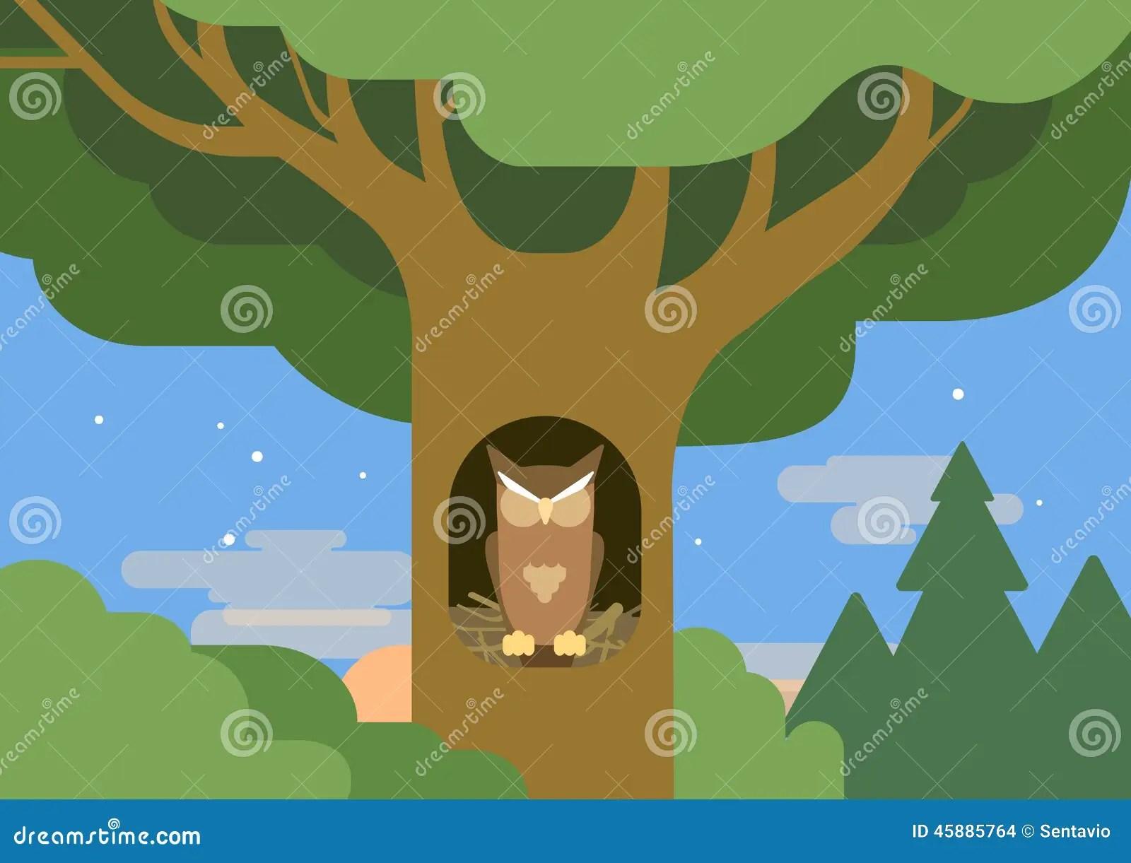 Owl Hollow Forest Habitat Flat Cartoon Vector Wild Animal