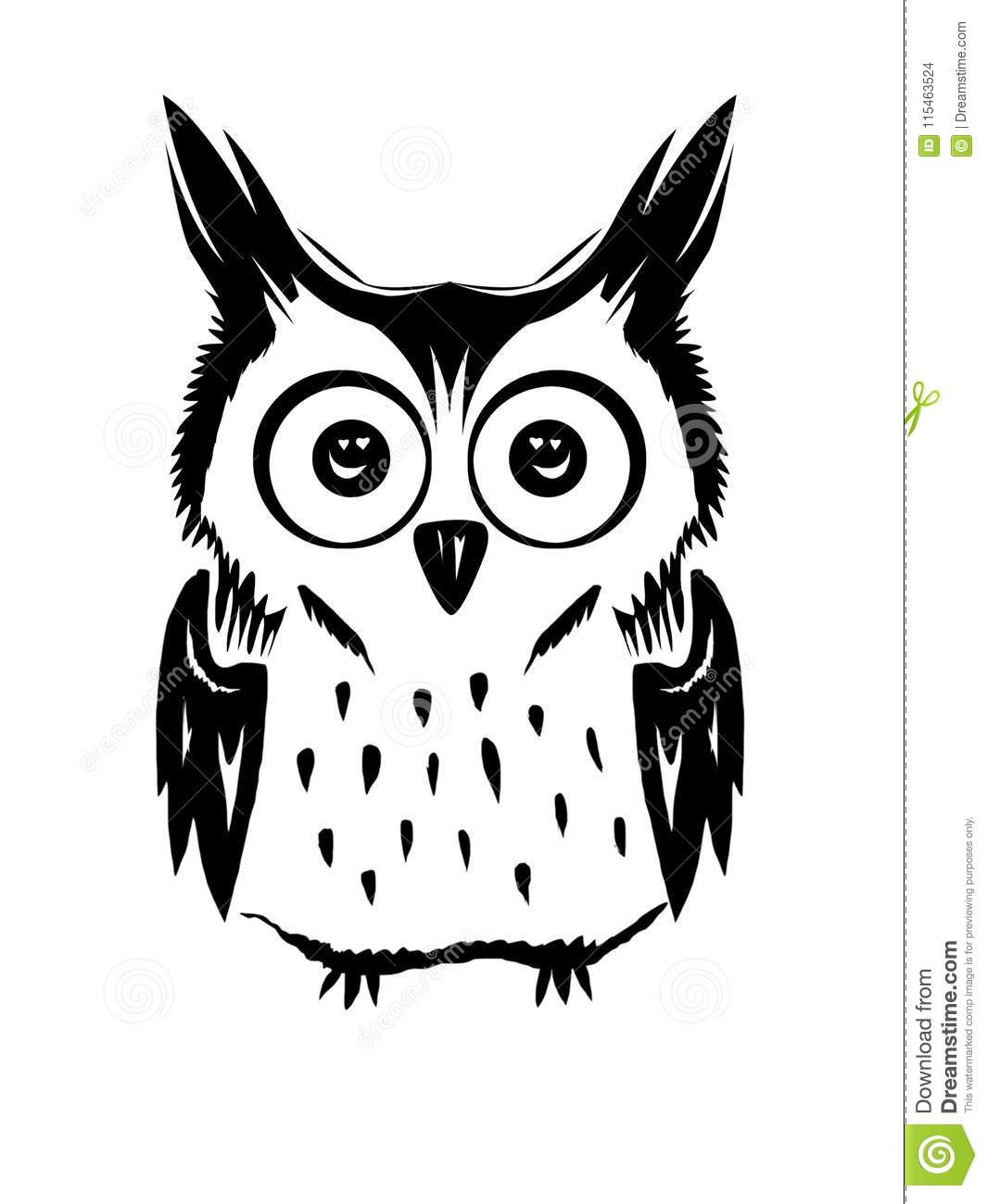 Cute Owl Vector Black And White Stock Vector