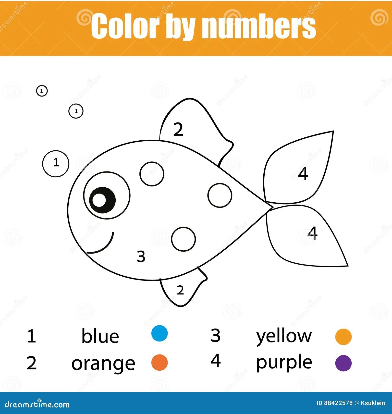Pagina Da Coloracao Com Carater Dos Peixes A Cor Pelo Jogo