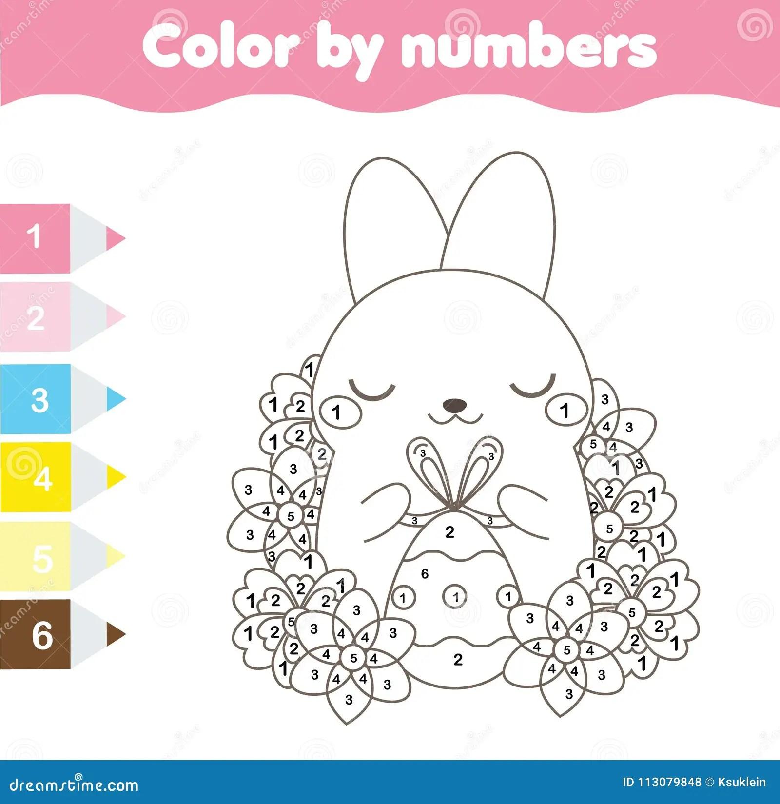 Pagina Del Colorante De Pascua Color Por Numeros Hoja De