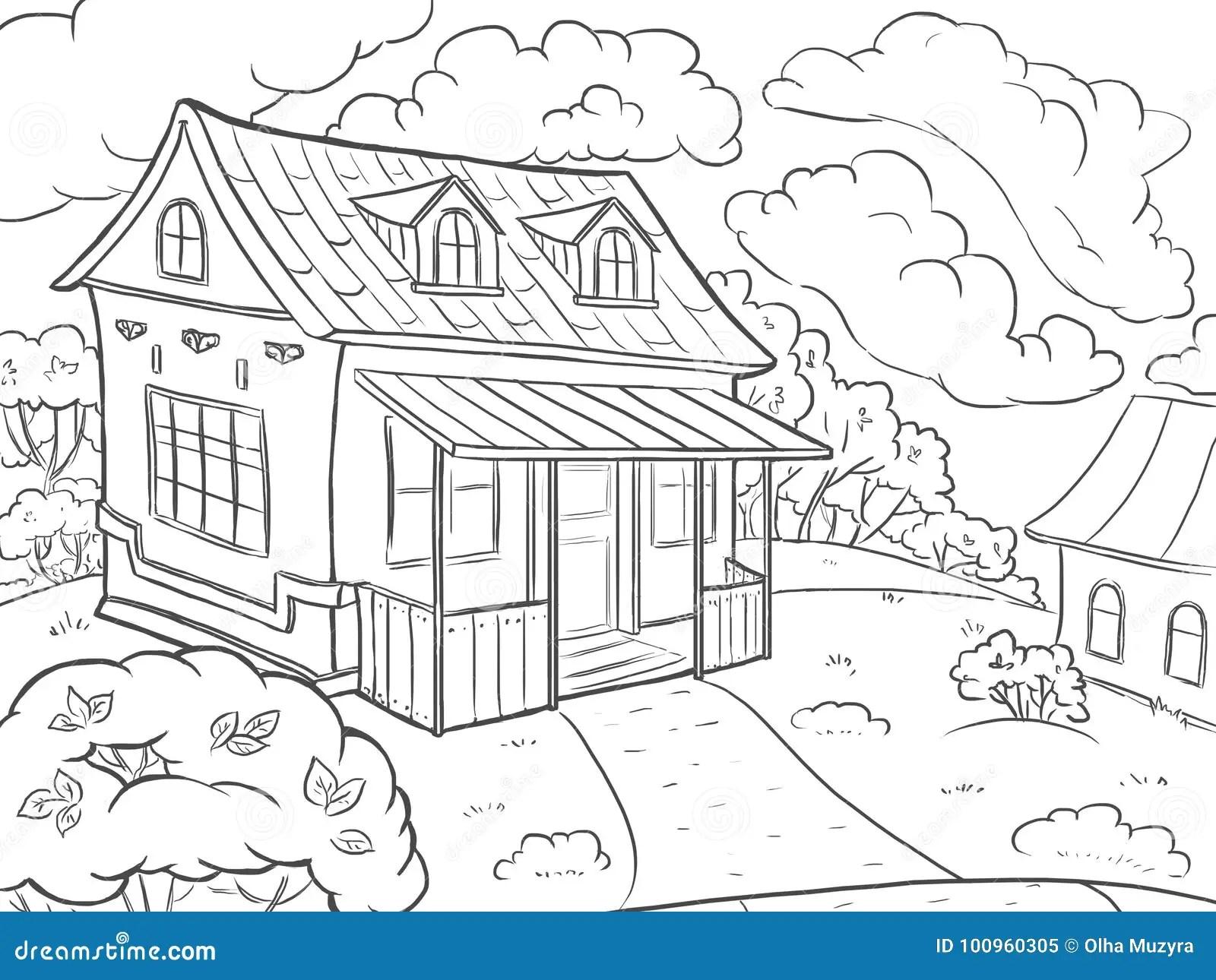 Pagina Que Colorea Casa Del Paisaje En El Verano Stock De