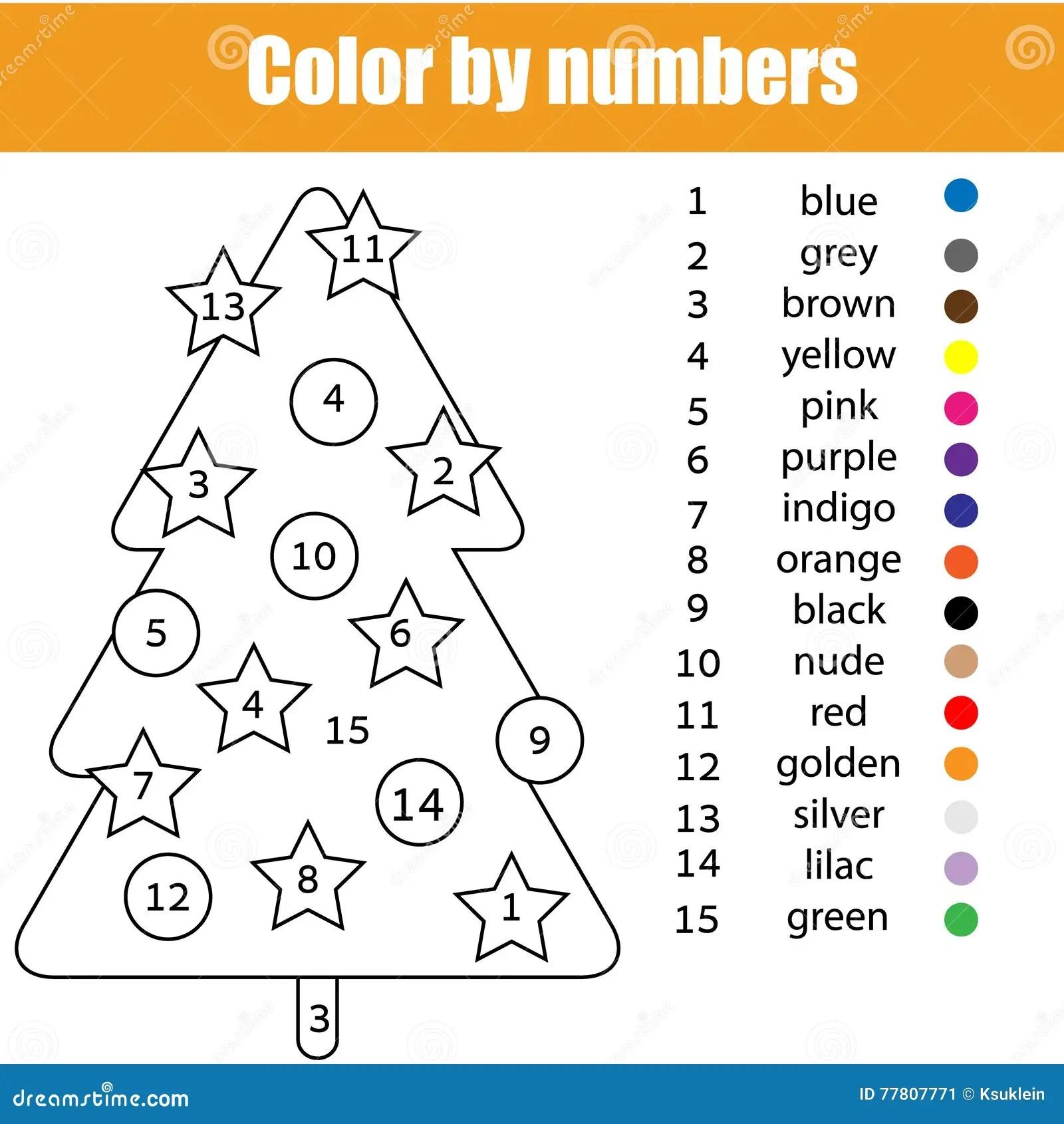 Pagina Que Colorea Con El Arbol De Navidad Color Por