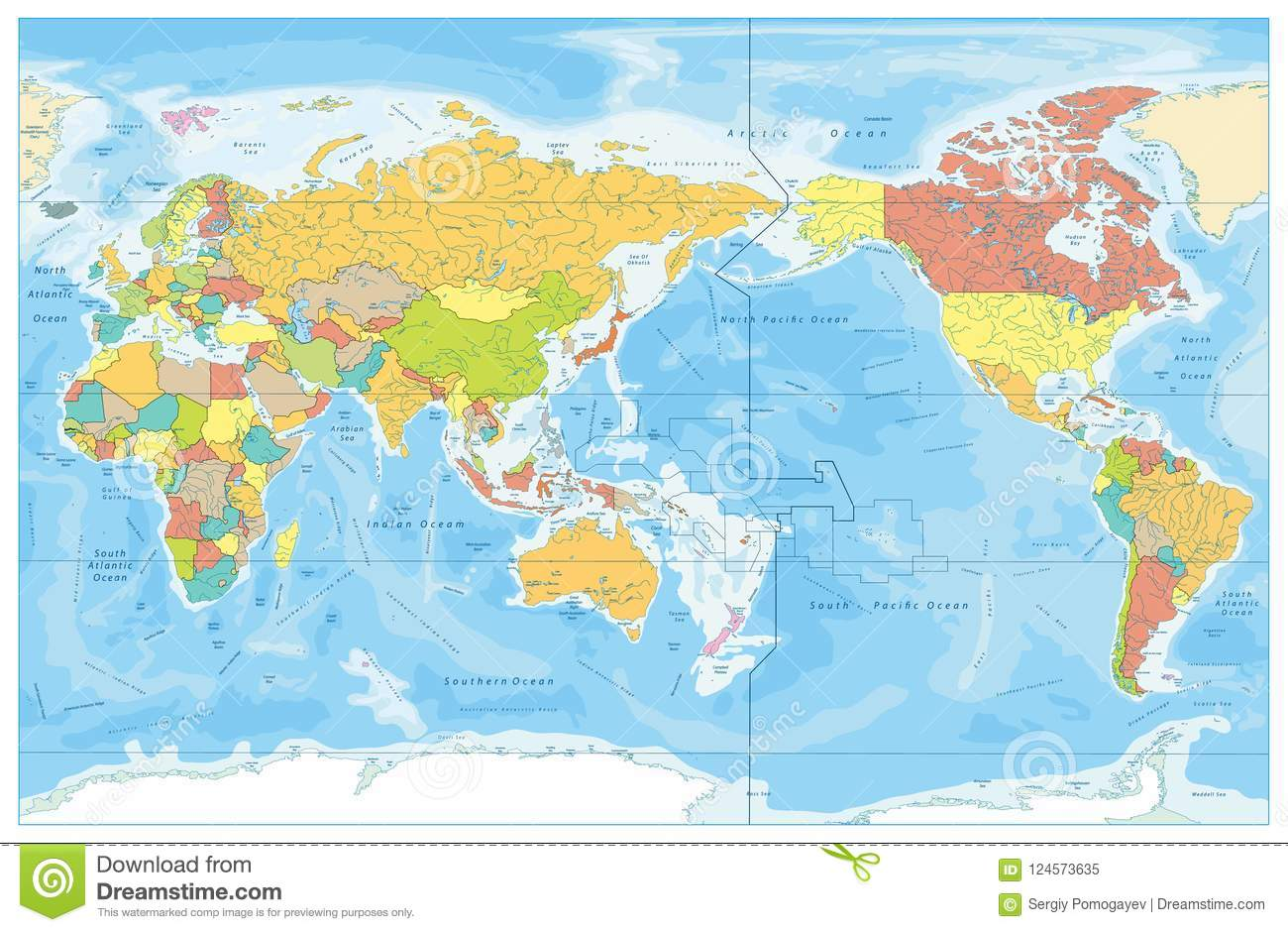 Pacific Centered World Colored Map And Water Bathymetry