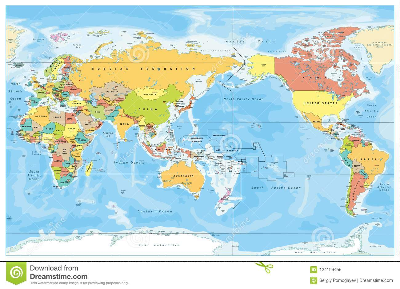 Pacific Centred World Colored Map Stock Vector