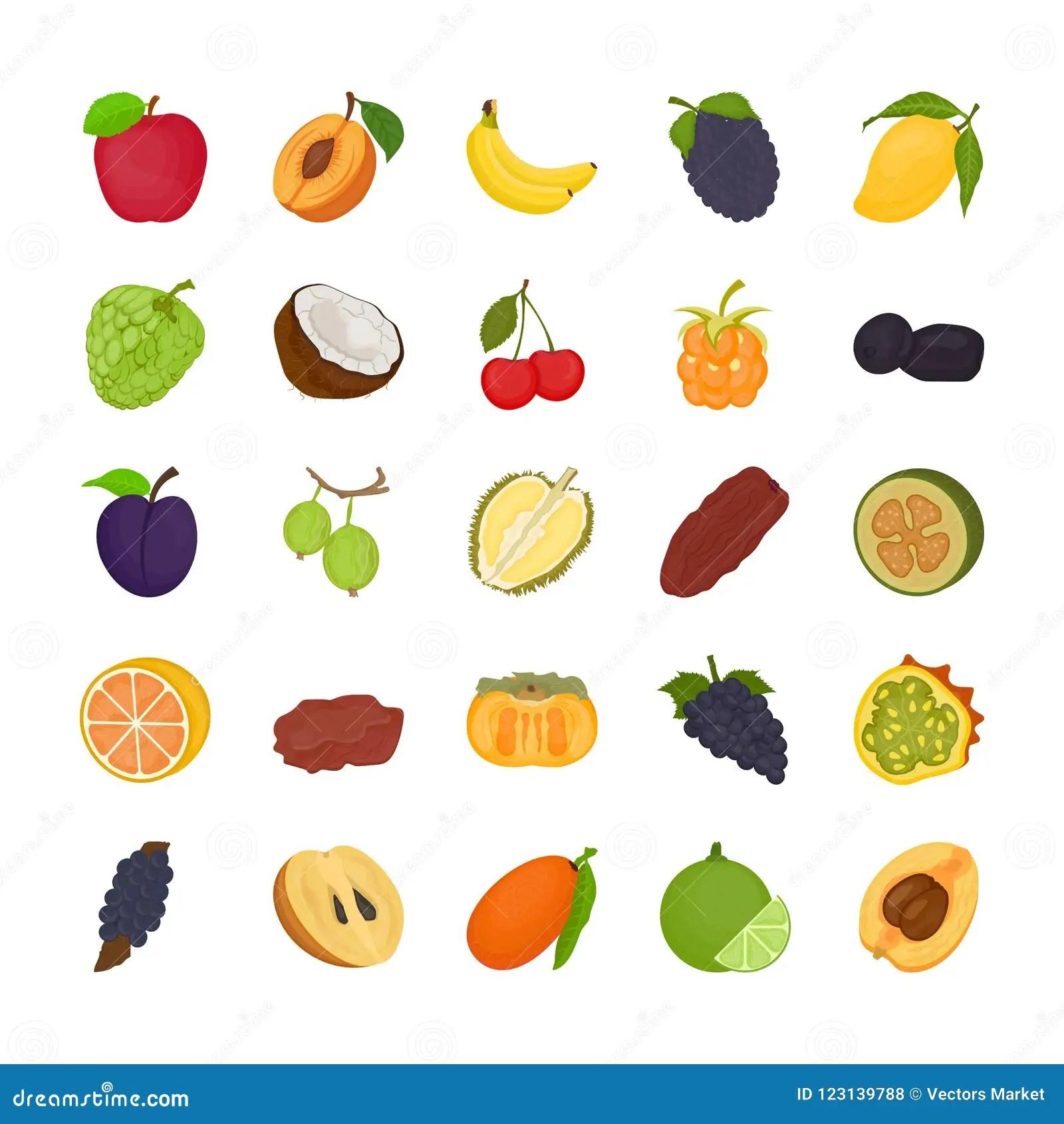 Fruit Flat Icons Stock Illustration Illustration Of