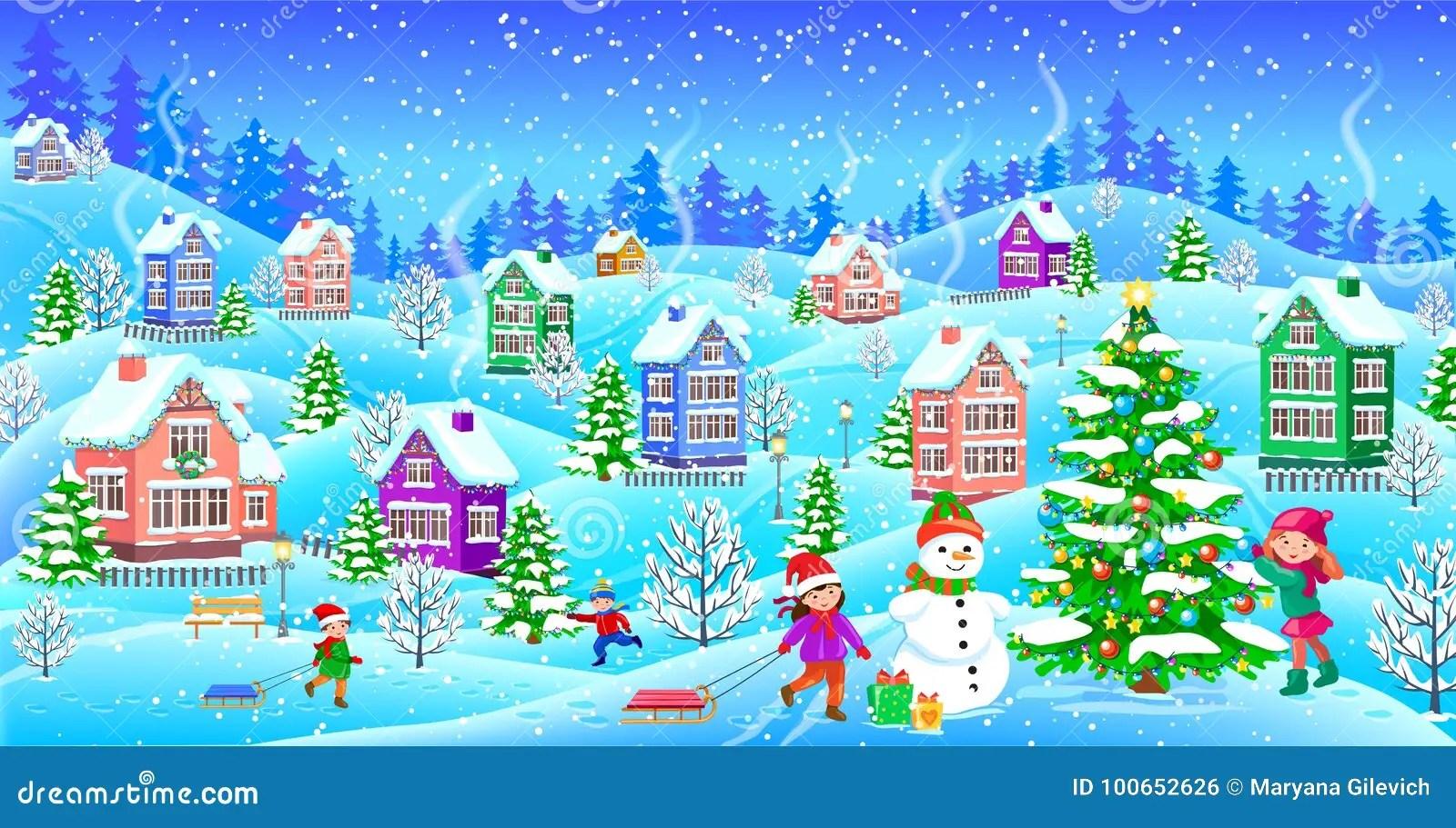 Se sono disponibili i risultati del completamento automatico, utilizza i tasti freccia in su e freccia in giù per consultarli e invio per selezionare. Paesaggio Di Inverno Con L Albero Di Natale Innevato Del Pupazzo Di Neve Delle Case Illustrazione Vettoriale Illustrazione Di Celebrazione Vigilia 100652626