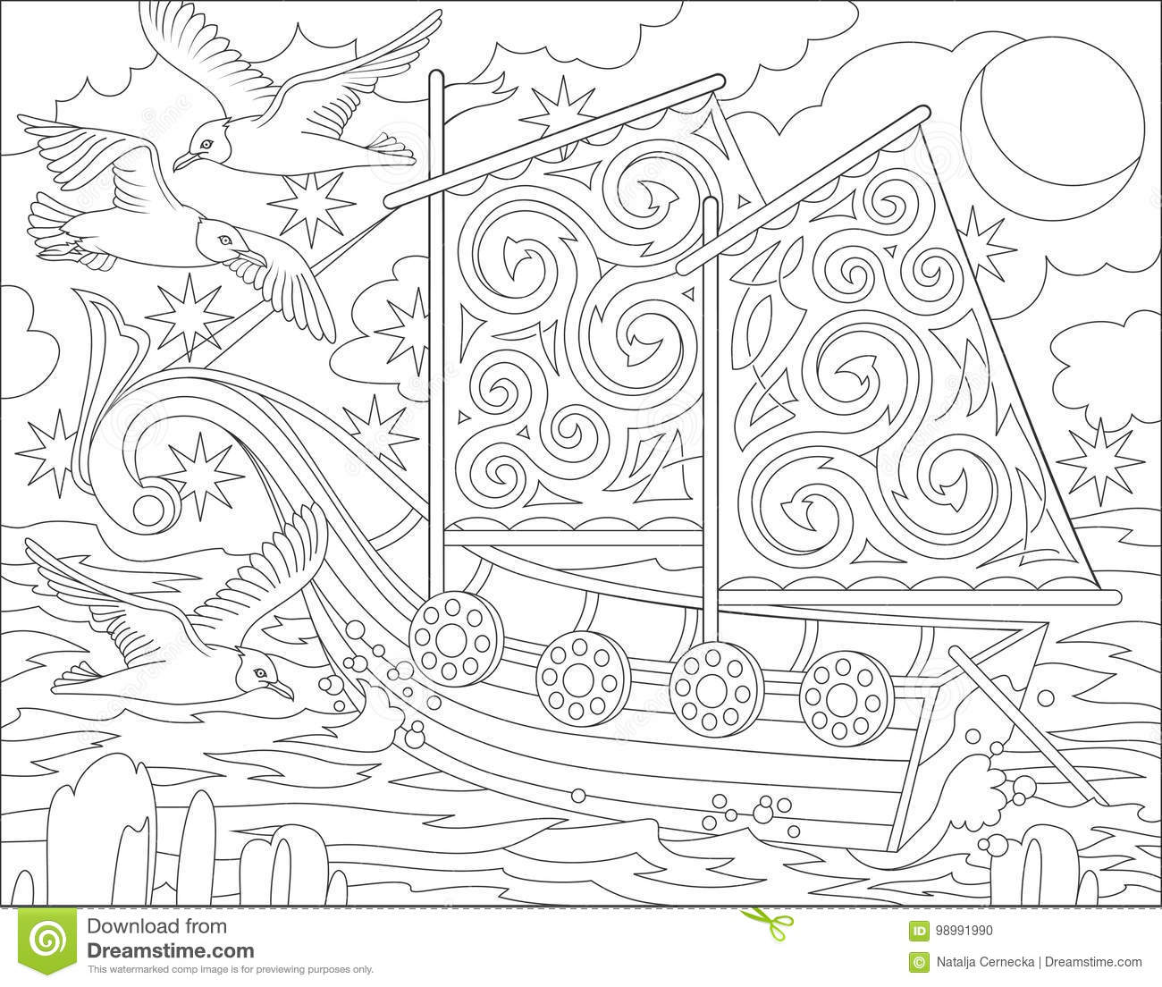 Page With Black And White Illustration Of Fantasy Celtic