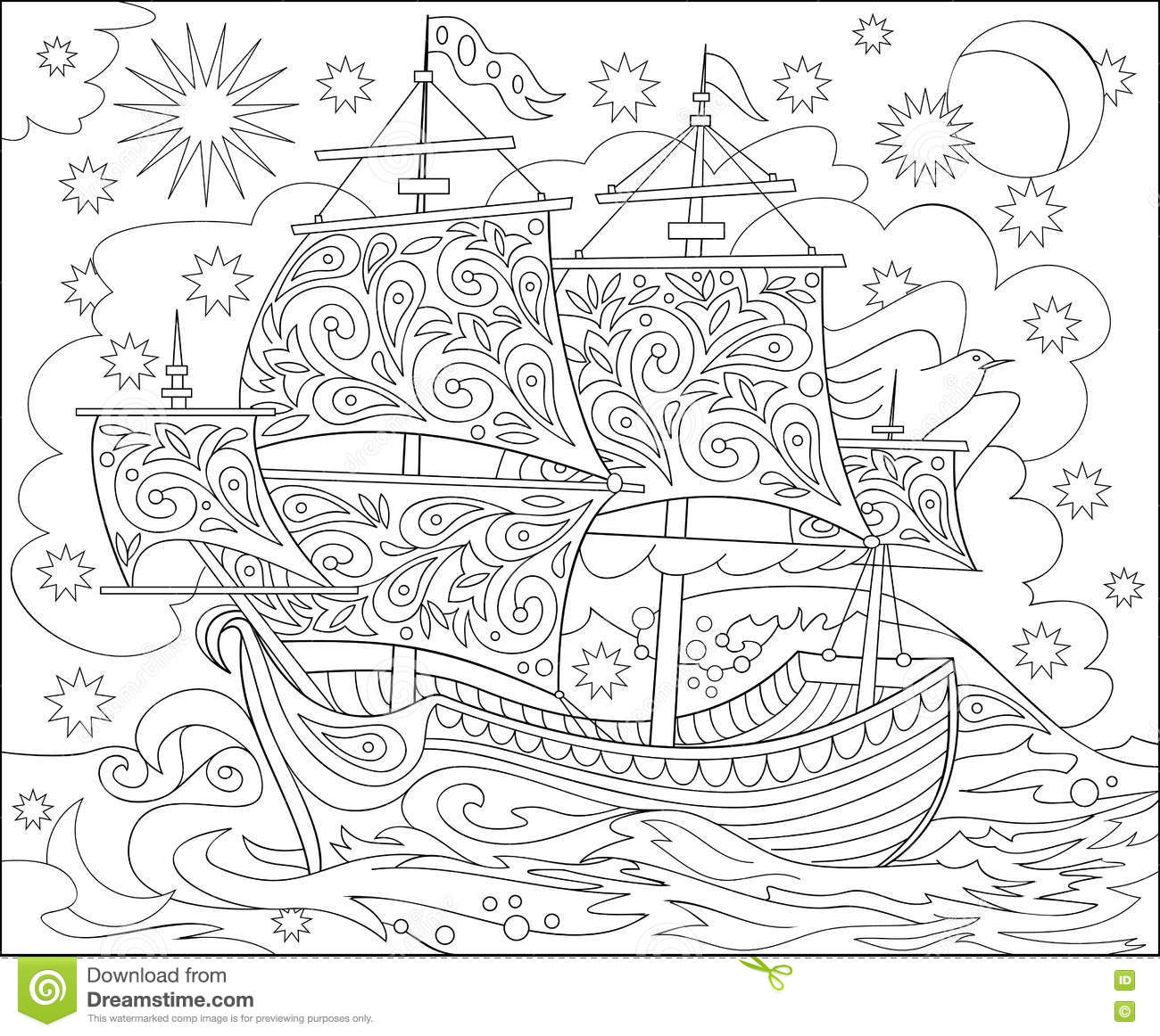 Page With Black And White Illustration Of Fantasy Fairyland Ship For Coloring Worksheet For