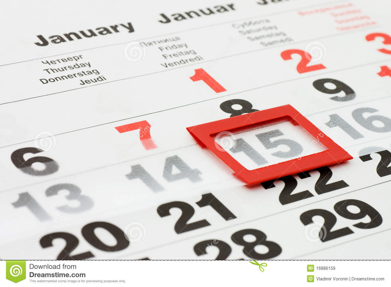 Page Of Calendar Showing Date Of Today Royalty Free Stock
