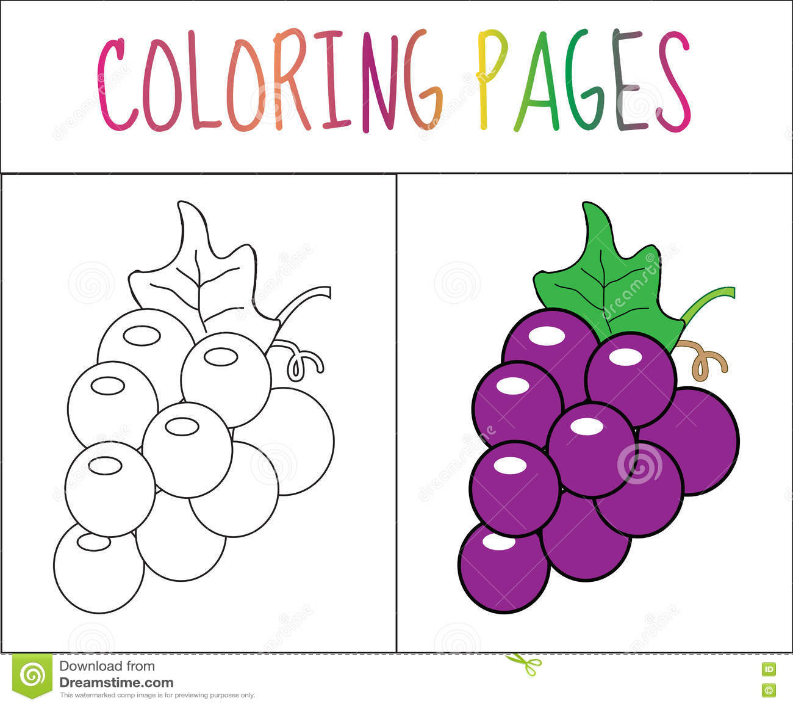 Page De Livre De Coloriage Raisins Version De Croquis Et