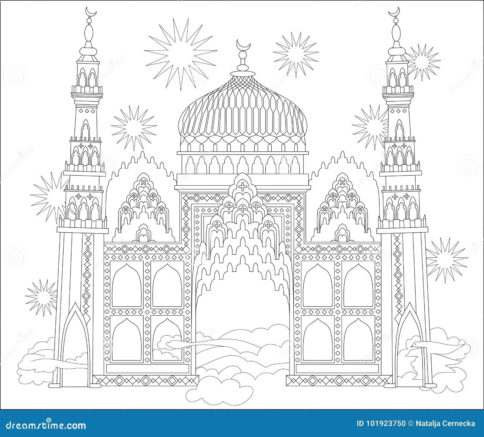 Page Noire Et Blanche Pour La Coloration Chateau Arabe Fantastique D Un Conte De Fees Fiche De