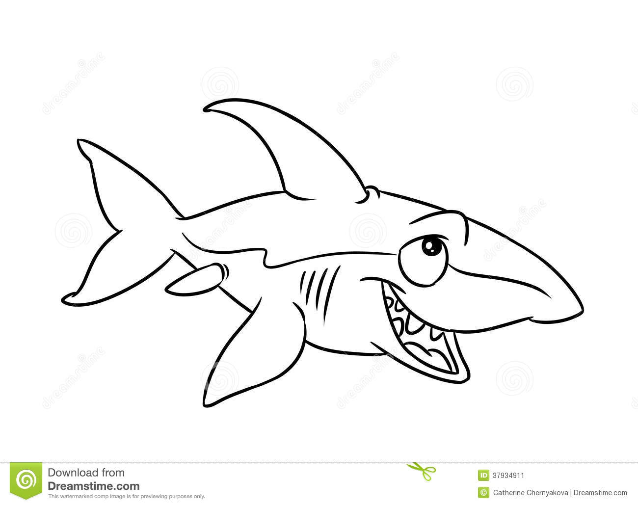 Pages De Coloration D Illustration De Requin De Poissons Illustration Stock