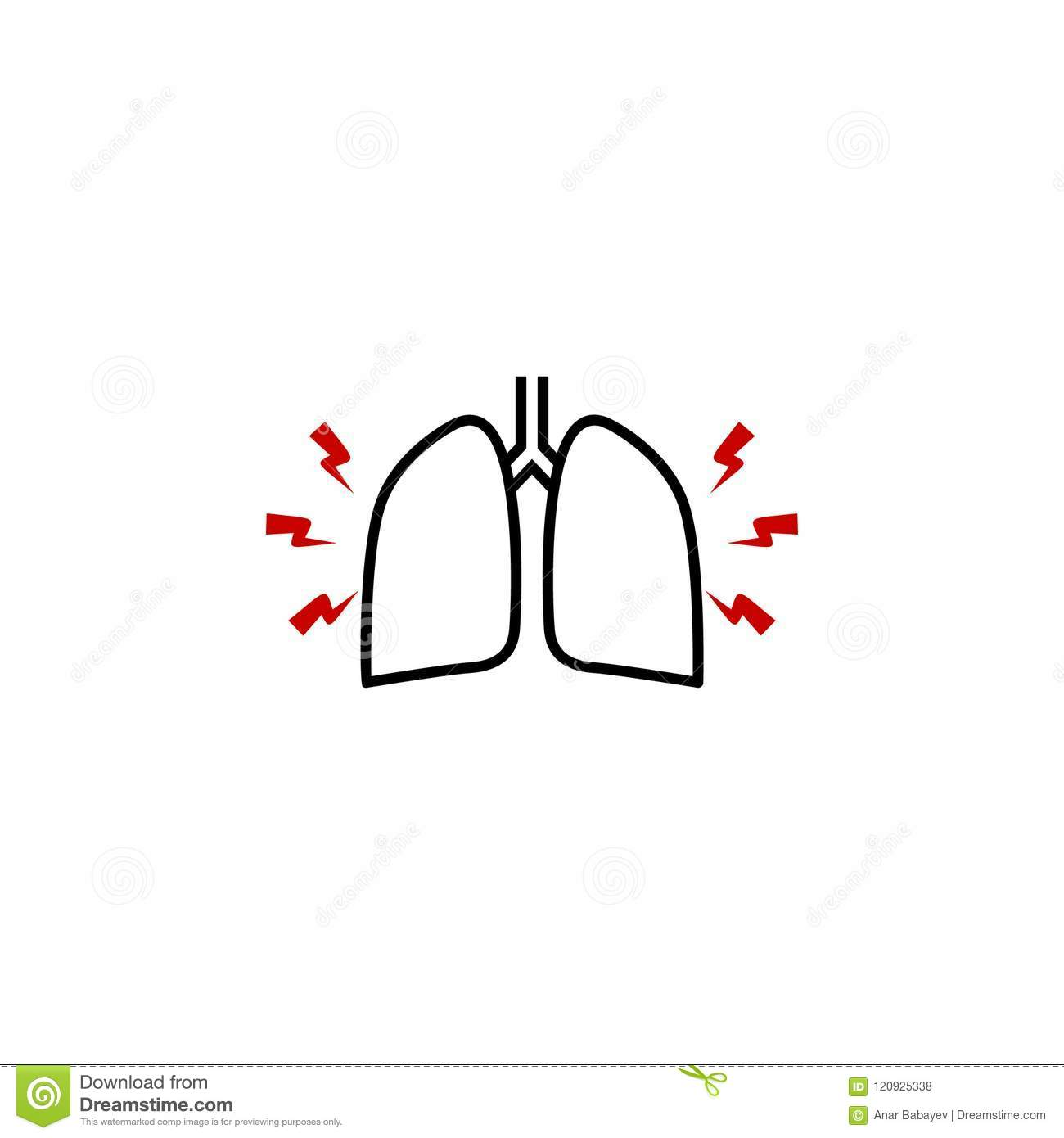 Pain In The Lungs Icon Element Of Human Body Pain For