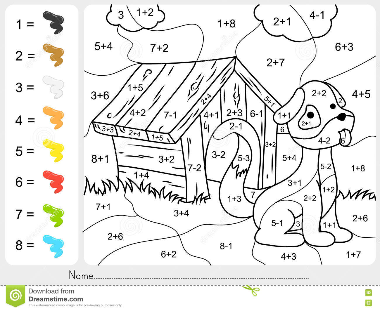 Color By Subtraction Worksheet