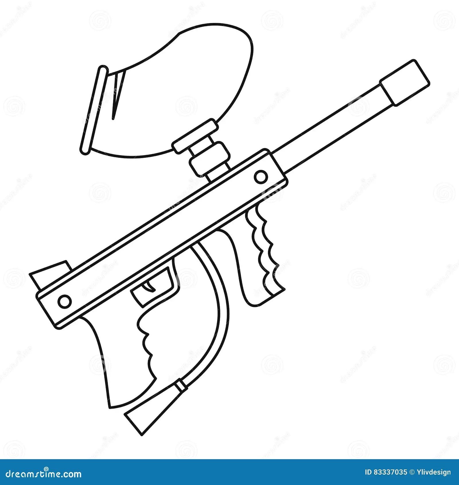 Paintball Gun Icon Outline Style Stock Vector
