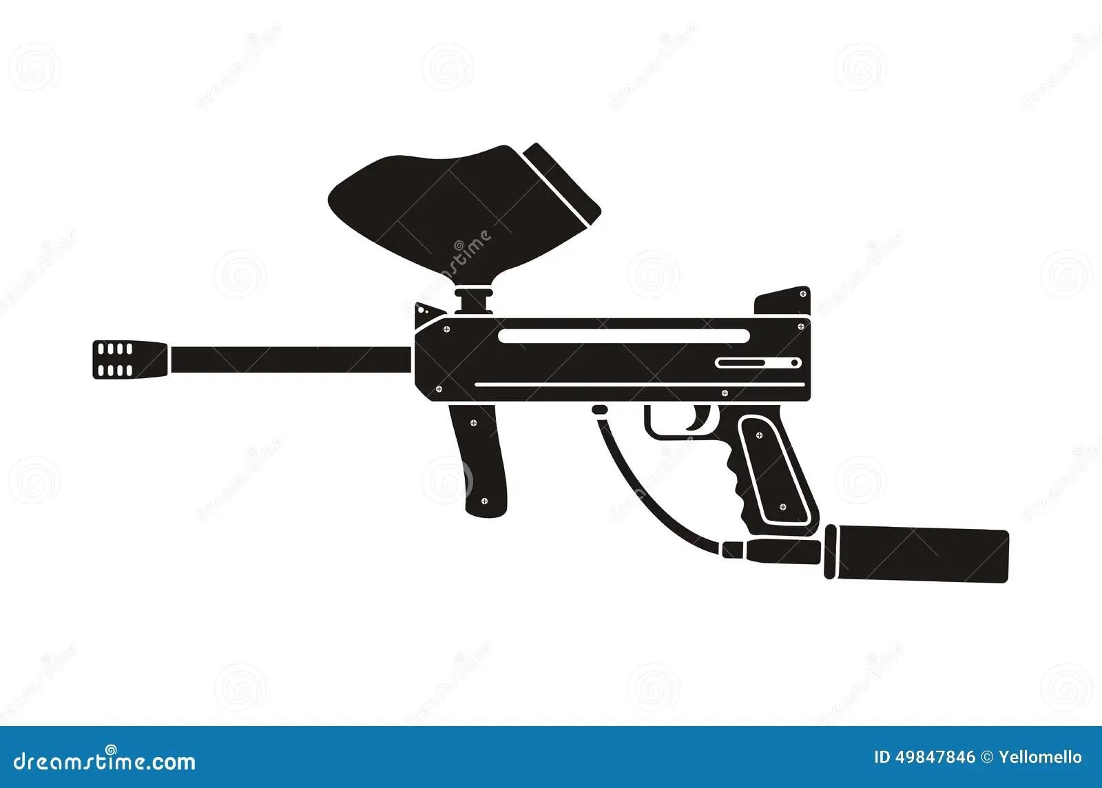 Paintball Gun Silhouette Stock Vector Illustration Of