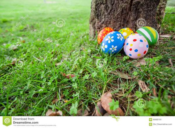 Hand-painted Easter Eggs Hidden In The Grass Stock Photo ...