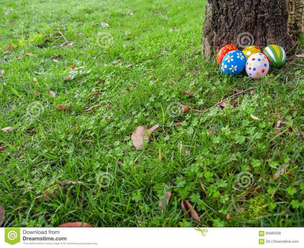 Painted Easter Eggs Hidden On The Grass, Ready For The ...