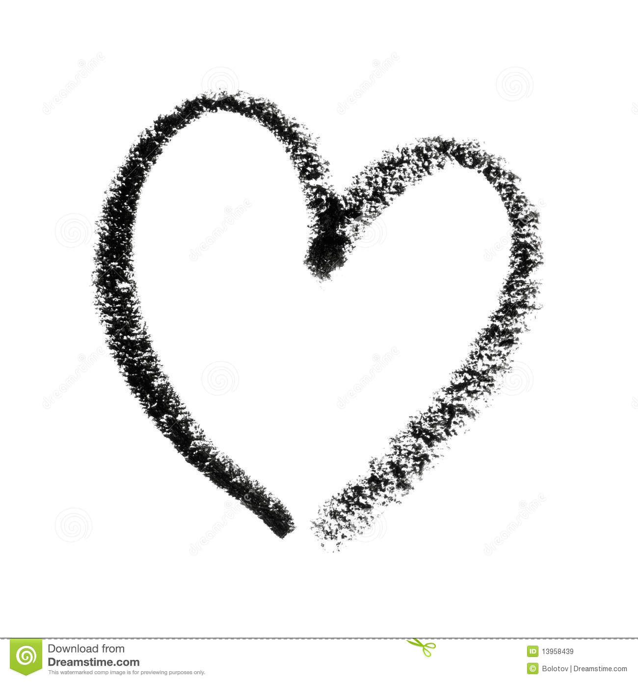 Painted Heart Symbol Outline Royalty Free Stock Images