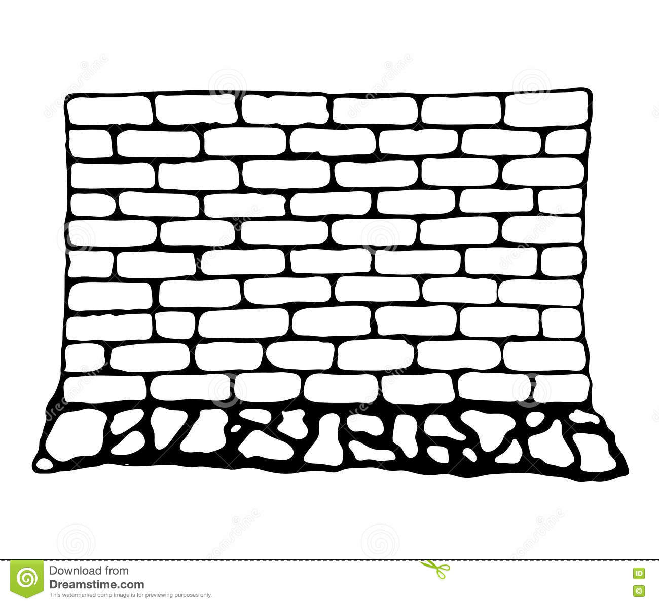 Painted Wall Of Brick And Stone Stock Vector