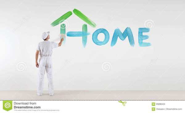 Painter Man With Paint Brush Painting Home Text Word ...