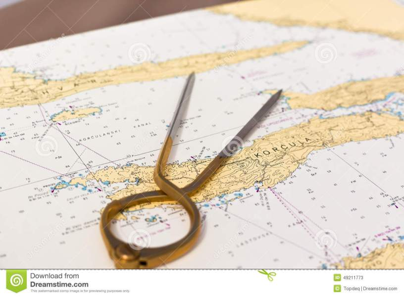 Pair Of Compasses For Navigation On A Sea Map Stock Image   Image of     Download comp