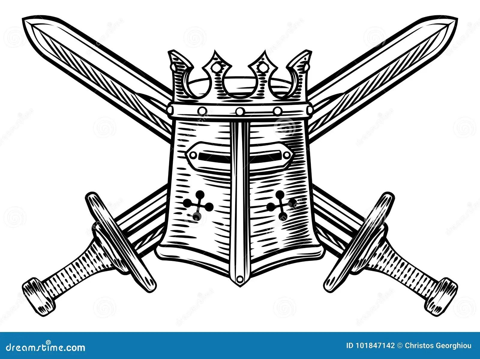Knight Helmet And Crossed Swords Illustration Stock Vector