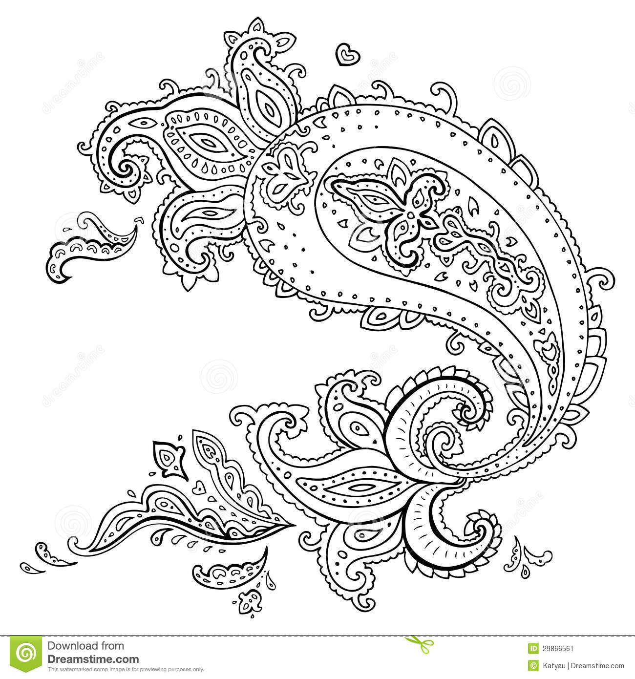 Hand Drawn Paisley Ornament Stock Image