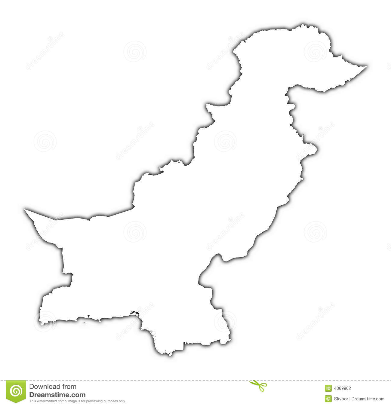 Pakistan Outline Map Stock Photography