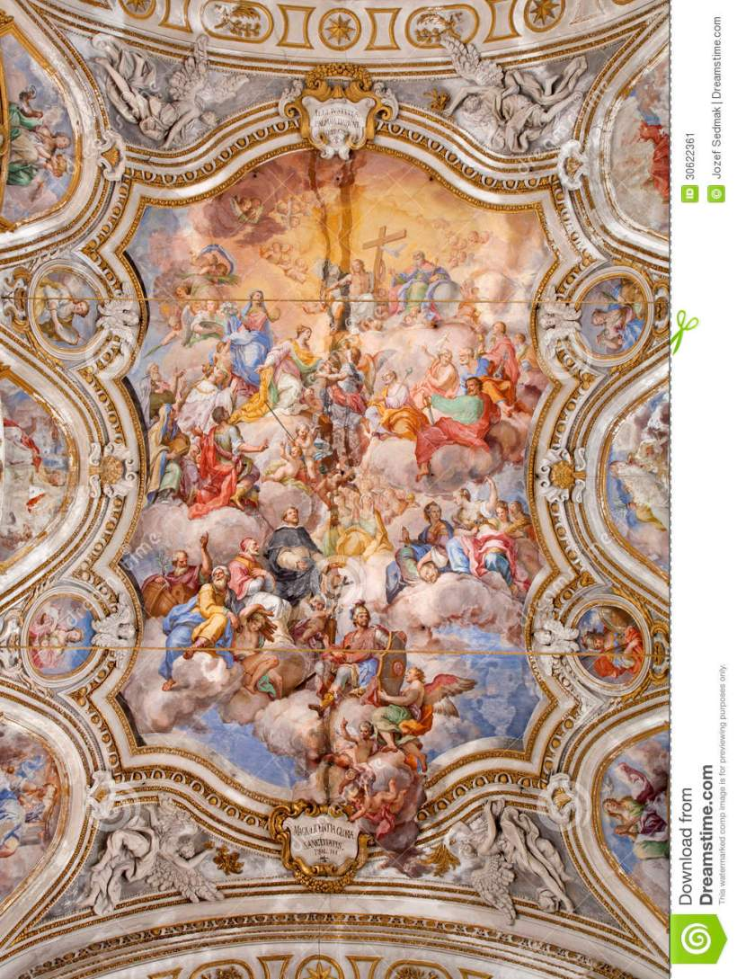 Baroque ceiling energywarden palermo ceiling of baroque church chiesa di santa caterina stock dailygadgetfo Gallery