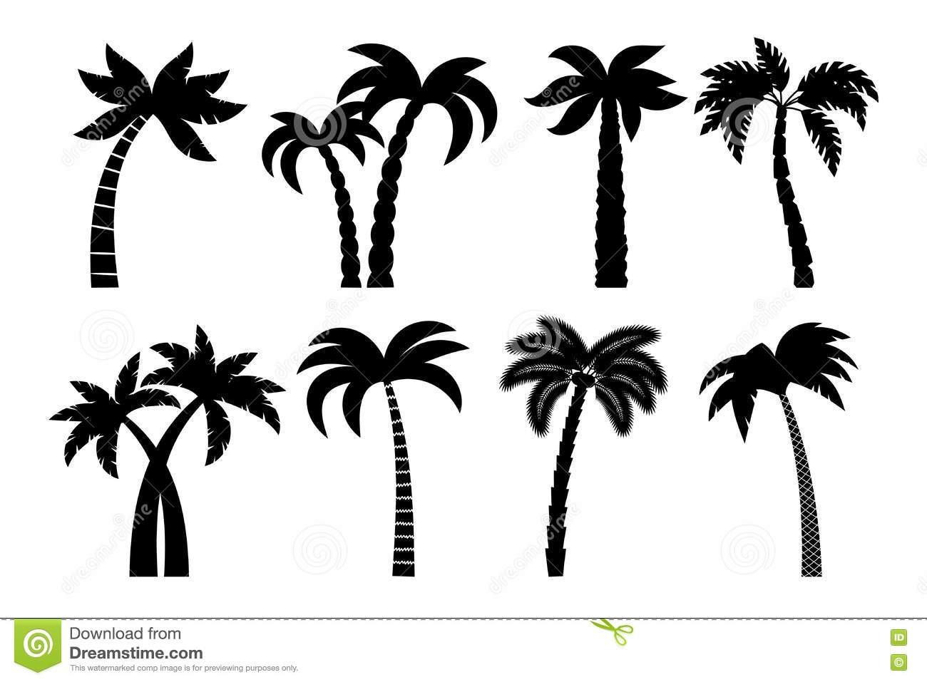 Palm Tree Black Set Stock Vector Illustration Of Natural