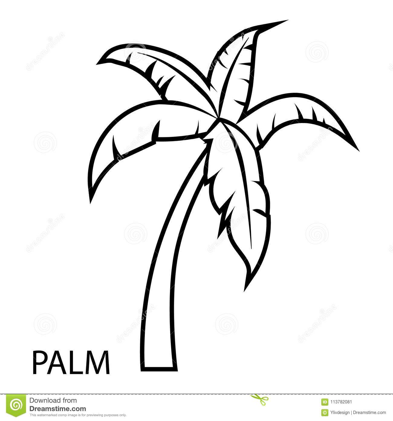 Palm Tree Icon Outline Style Stock Vector