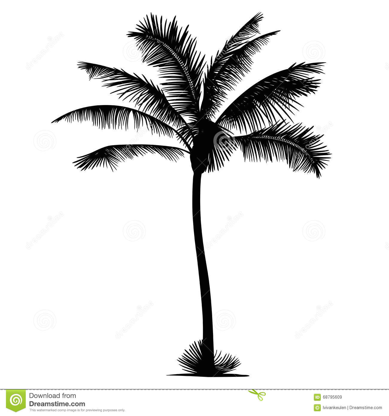 Palm Tree Vector Silhouette Illustration Stock Vector
