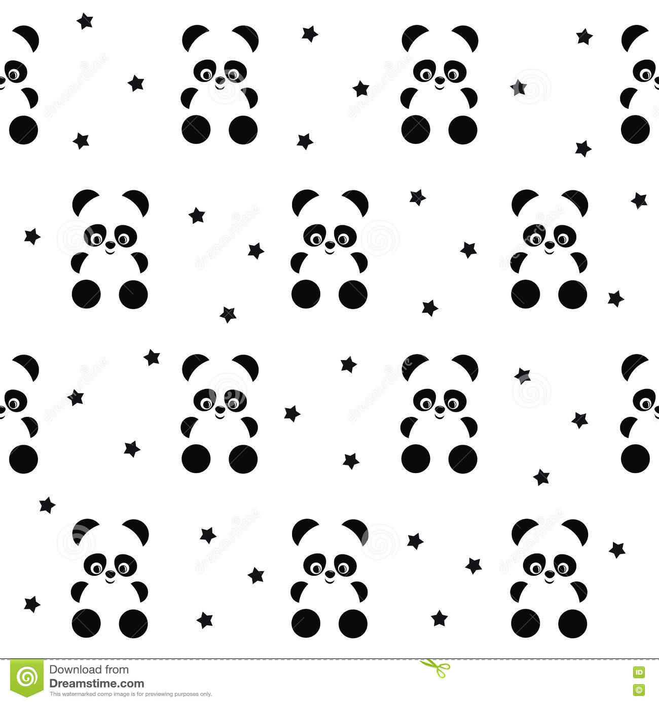Panda With Stars Seamless Pattern On White Background