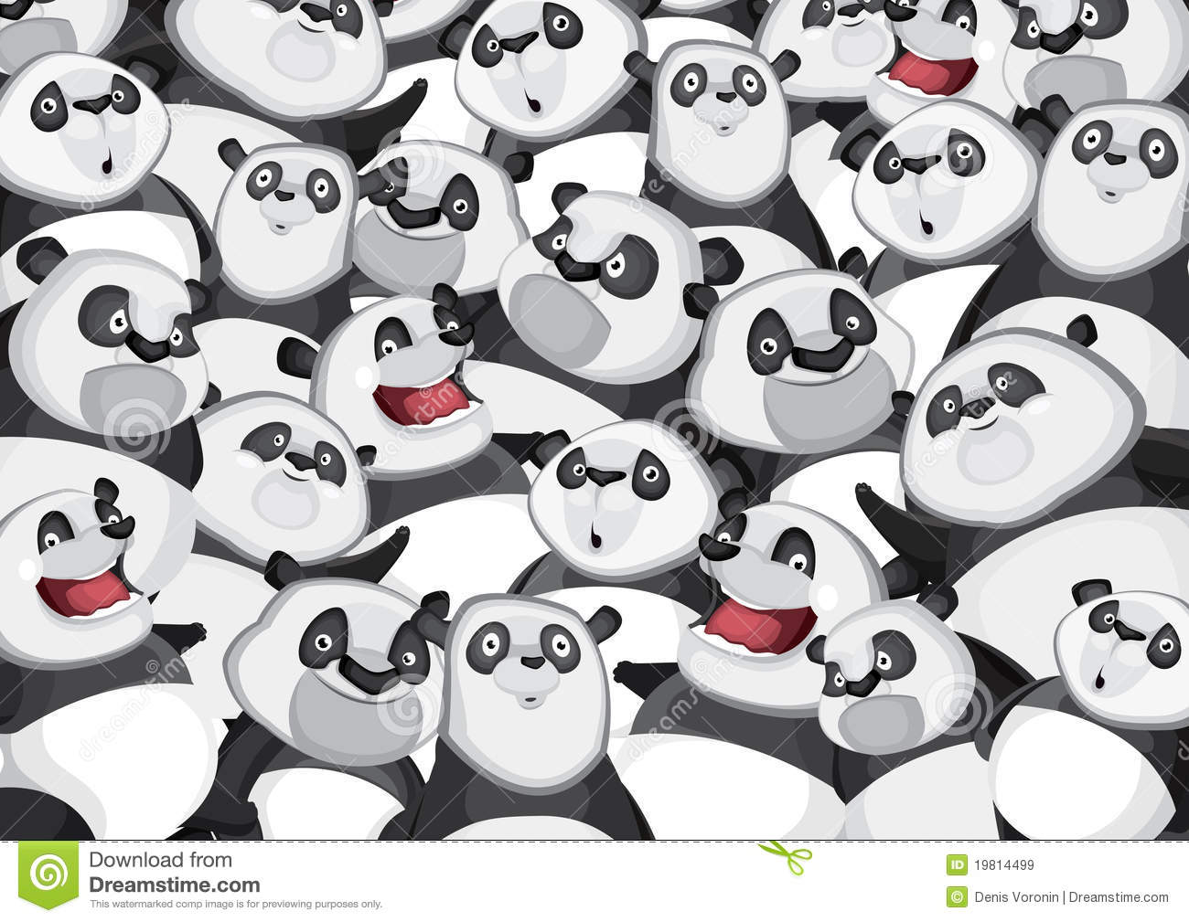 Pandas Background Pattern Stock Vector Illustration Of