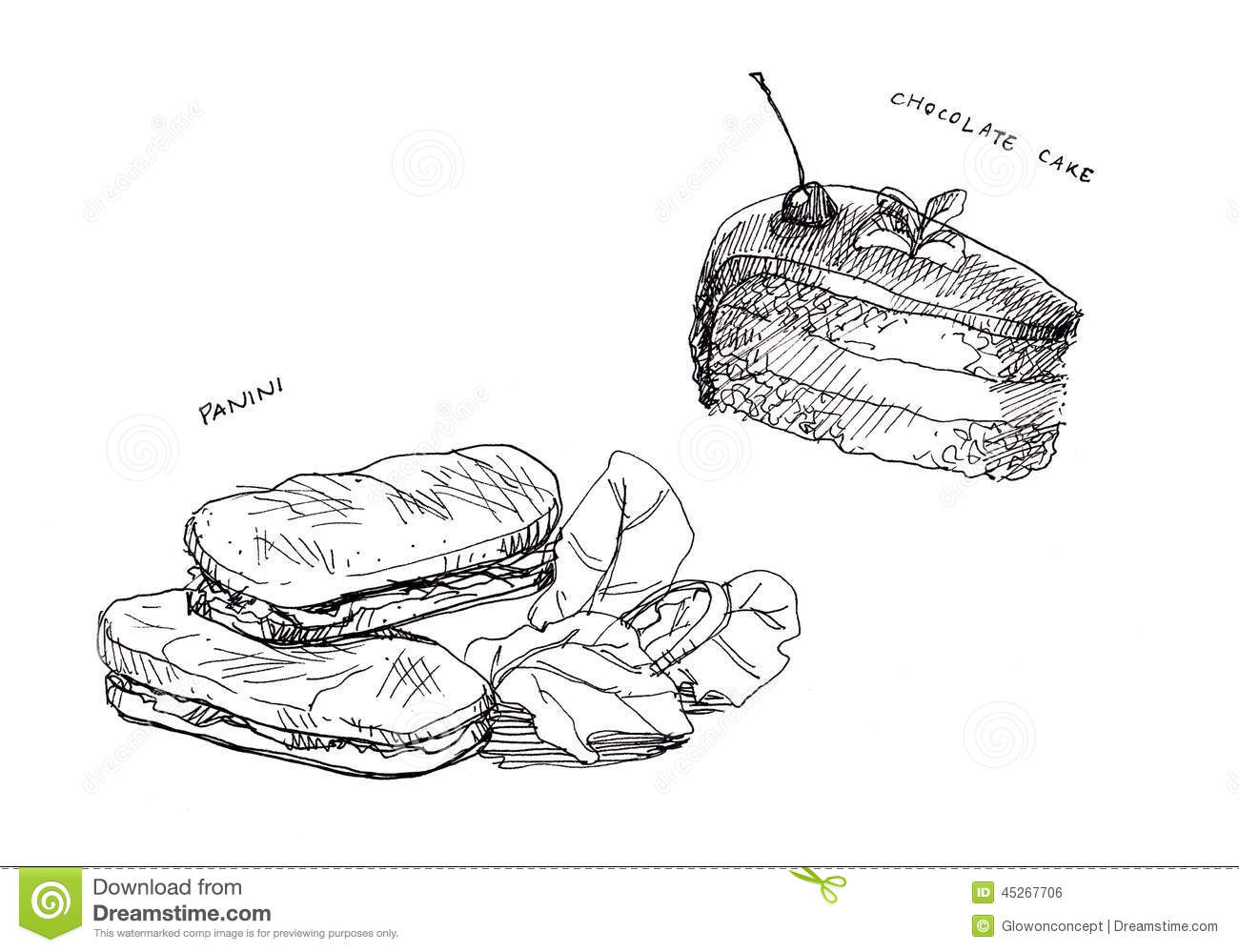 Panini And Cake Chocolate Line Drawing Stock Illustration