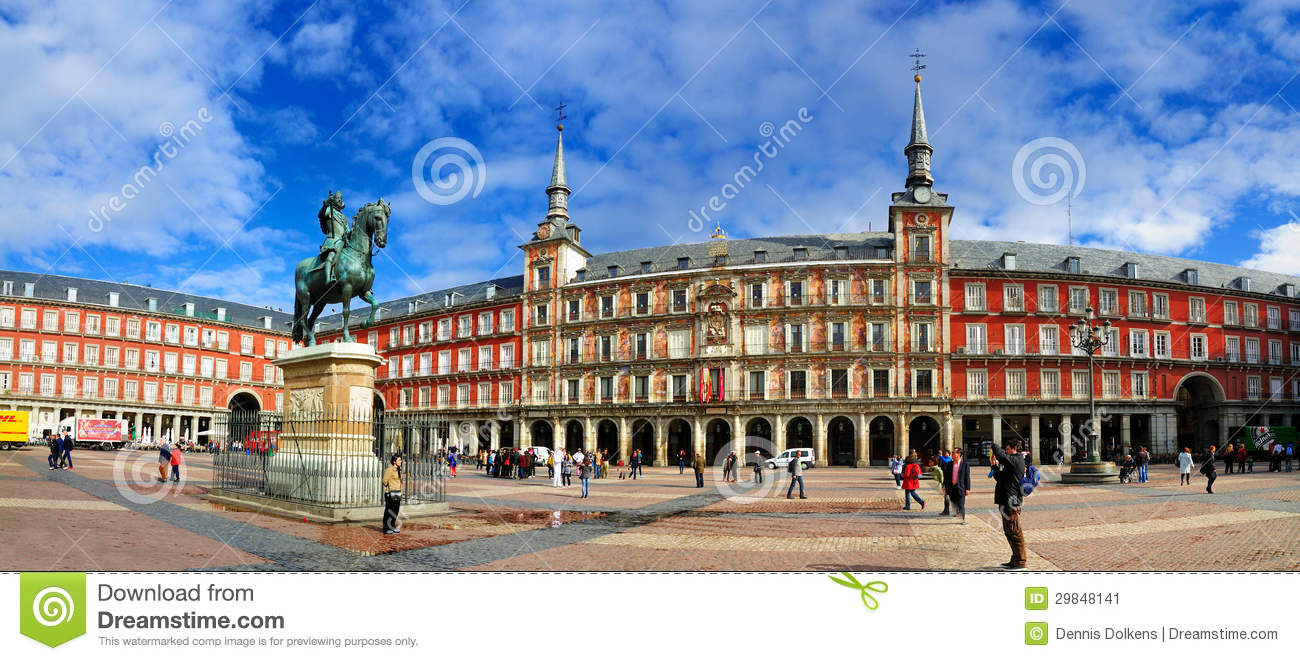 Panorama Of Plaza Mayor Madrid Editorial Photo Image