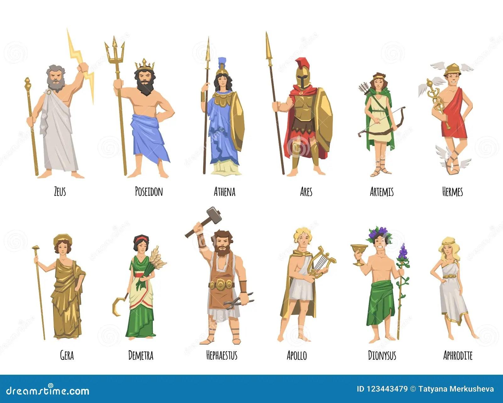 Pantheon Of Ancient Greek Gods Mythology Set Of