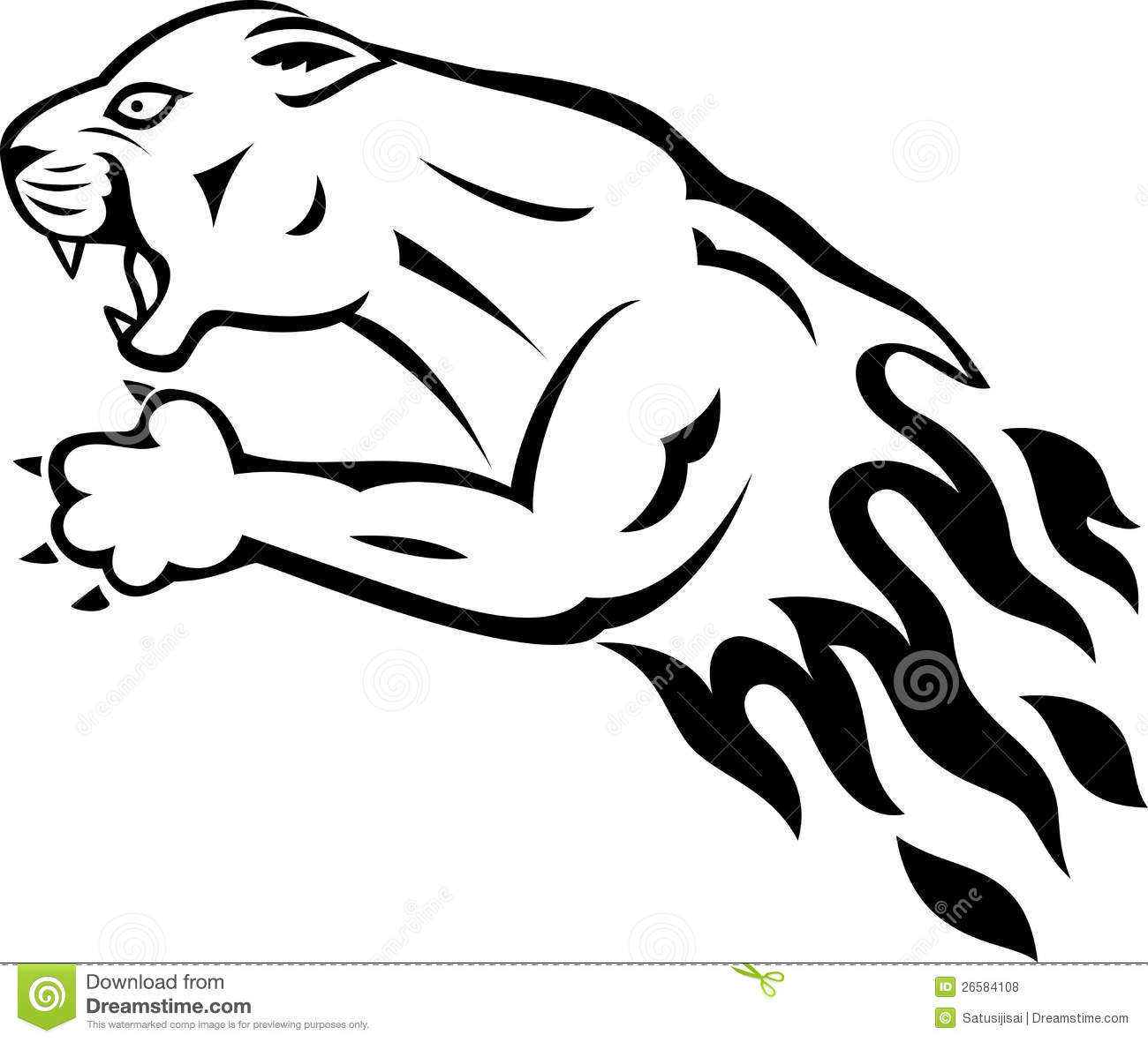 Panther With Flame Stock Vector Illustration Of Danger