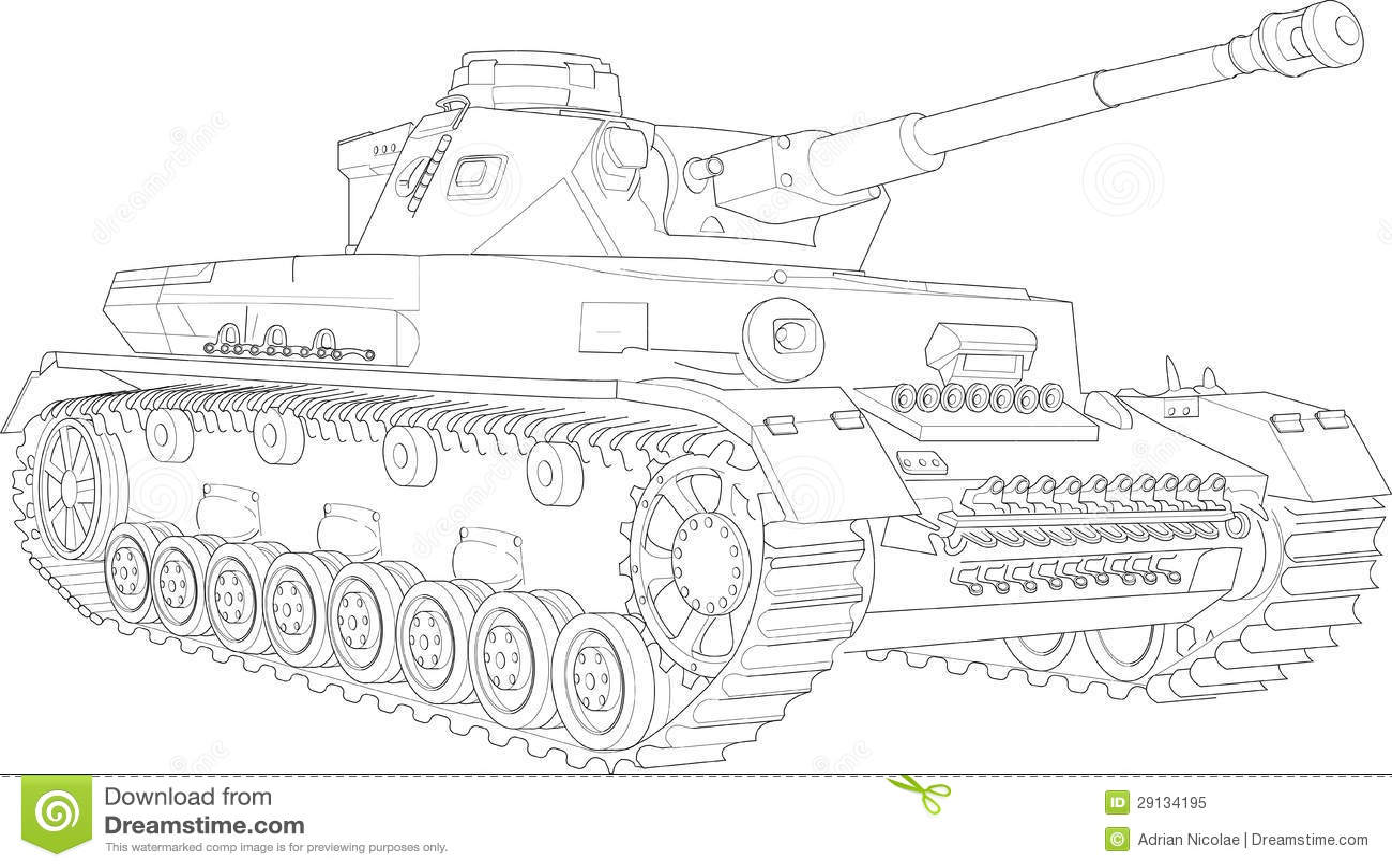 Panzer Iv Tank Sketch Stock Illustration Illustration Of