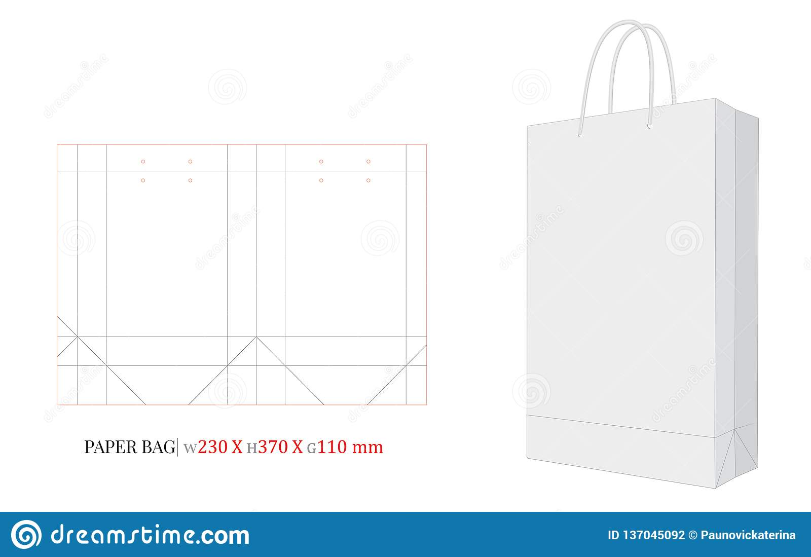 Layered psd through smart object insertion. Paper Bag Template With Die Cut Laser Cut Lines Shopping Bag Mock Up Vector 230 X 370 X 110 Stock Vector Illustration Of Shopping Clear 137045092