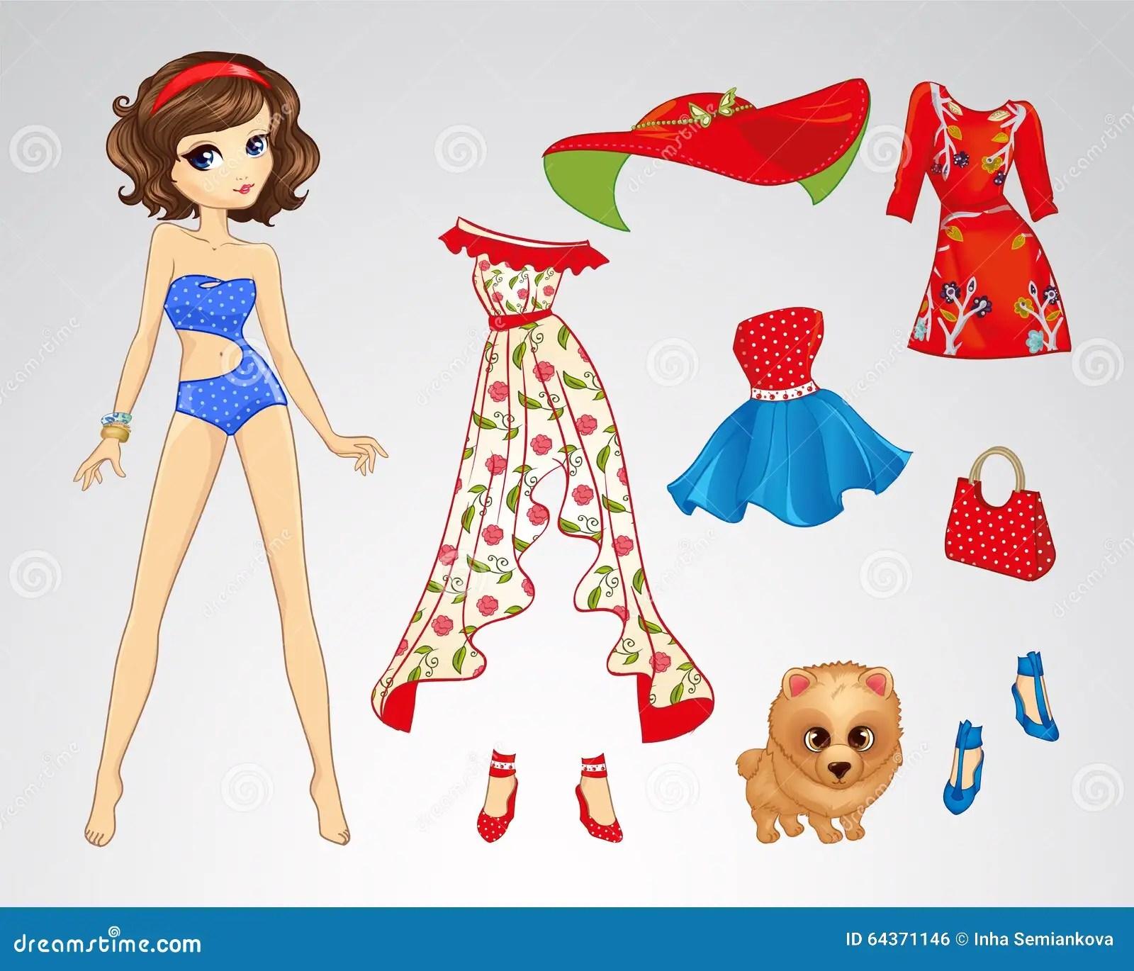 Paper Brunette Retro Doll Stock Vector Illustration Of
