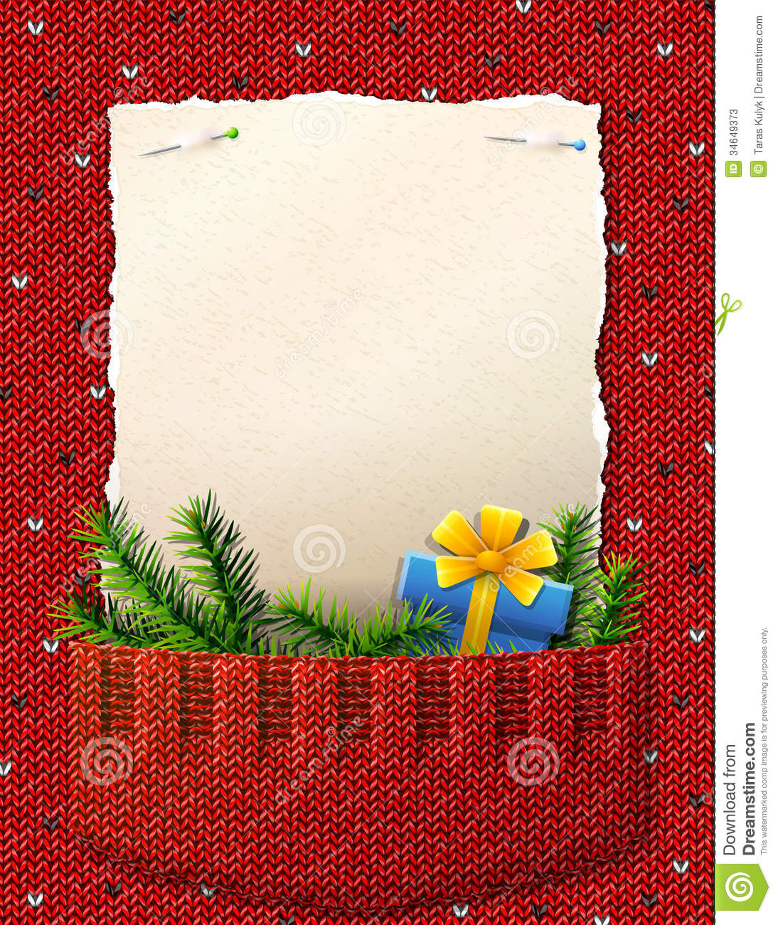 Paper For Christmas List In Knitted Pocket Stock Photos